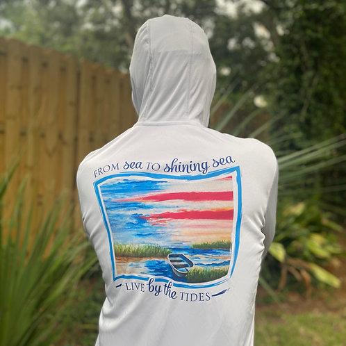 Long Sleeve From Sea to Shining Sea Denali Performance Hooded Shirt