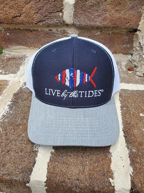 Patriotic Navy and White Logo Trucker Hat