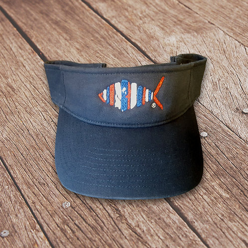 Patriotic Navy Fish Logo Visor
