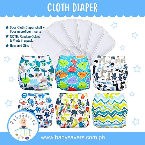 6pcs/pack Baby Cloth Diapers with inserts One Size Random Colors