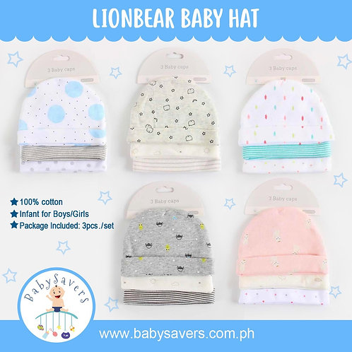 Lionbear 100% Cotton Baby 3pcs printed hat set for Boy and Girl