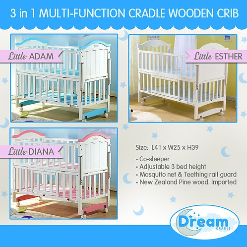 Lil Esther, Lil Diana, Lil Adam Multifunction cradle Wooden Crib