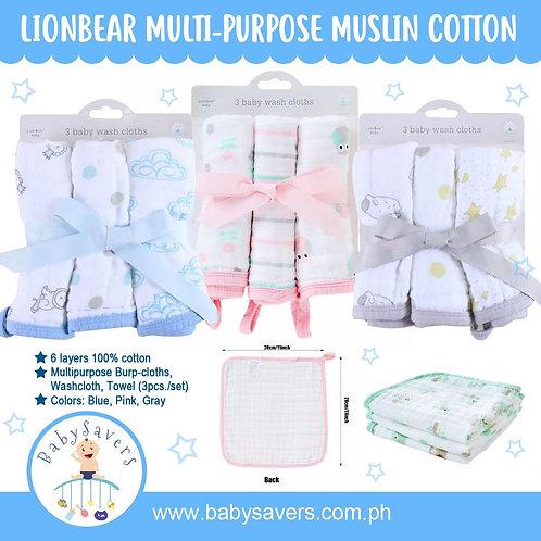 LionBear 6layer muslin Multipurpose Towel 3pcs/pack