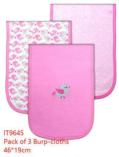 """Mothers choice 3-Pack """" Burp Cloth Set in Pink Bird or Elephant"""