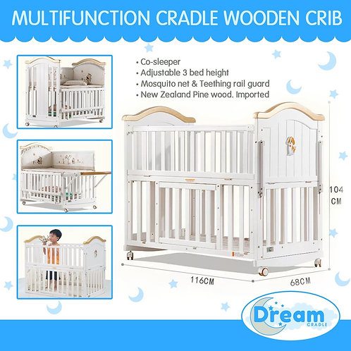 NATHALIE Multifunction Cradle Wooden Crib