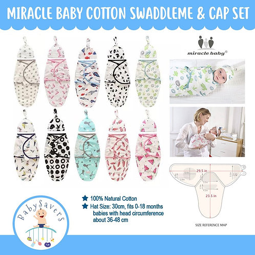 Miraclebaby Cotton swaddleme & Cap set