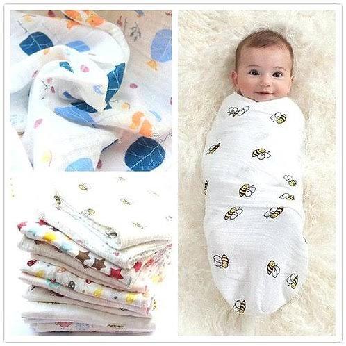 Flourescent Muslin 100% Organic Swaddle Blankets 3pcs Boy or Girl