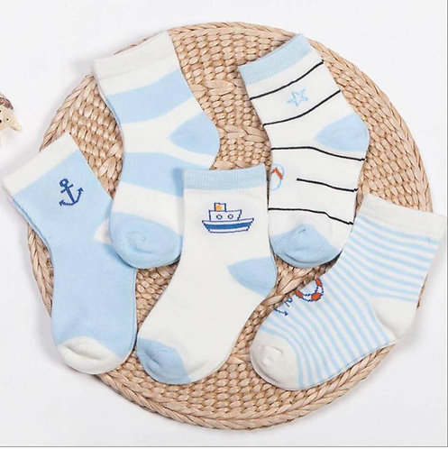 5pairs Toddler Non Skid Cotton Socks Baby Boy 1-3yo