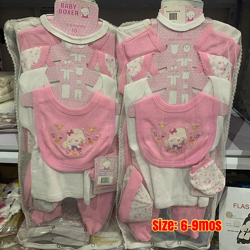 OVO Babies 8 pcs.Layette Girl Pink Set 6-9 mos