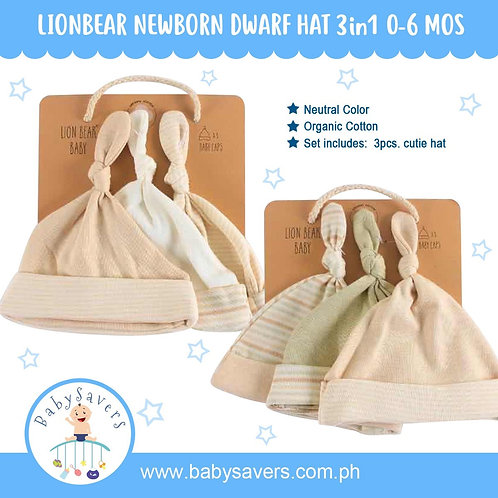 LionBear baby Organic Knotted Cap 3pcs in set