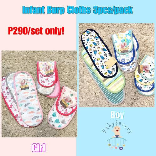 Infant Burp cloths 3pcs random for Boy or Girl