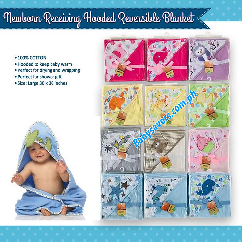 Newborn receiving hooded reversible blanket
