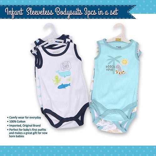Infant sleeveless bodysuits 3in1 set