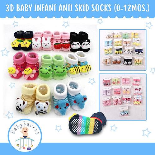 Flourescent 3pairs 3D design infant socks