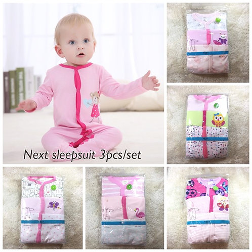 Next Baby overall 3-Pack Cotton Footed Sleep and Play -Girl