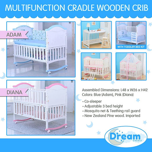 ADAM, DIANA Multi function cradle Wooden Crib