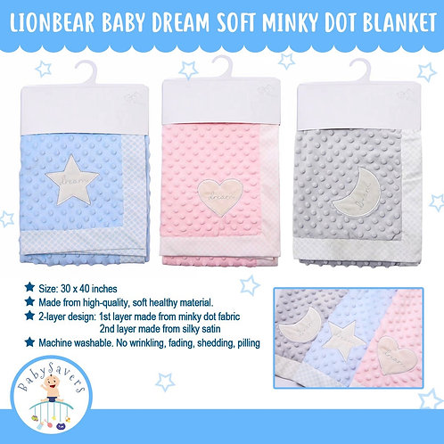 LionBear Baby Dream Soft Minky Dot Blanket