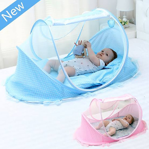 Newborn Baby Bed Mosquito Net with Cushion Pillow