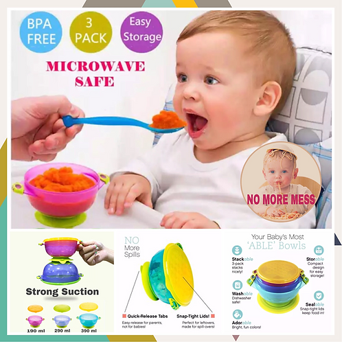 Stay Put Suction Bowl Hogokids 3pcs