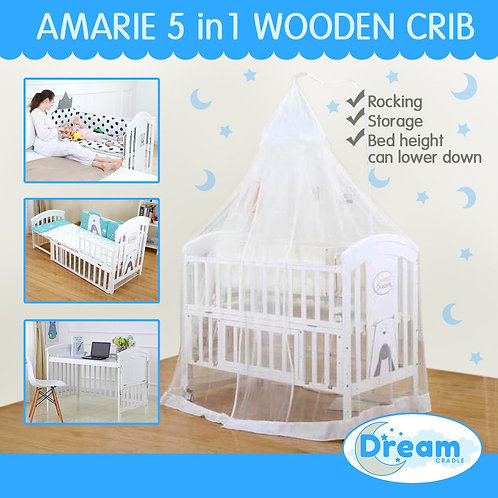 AMARIE convertible 5 in 1 wooden crib