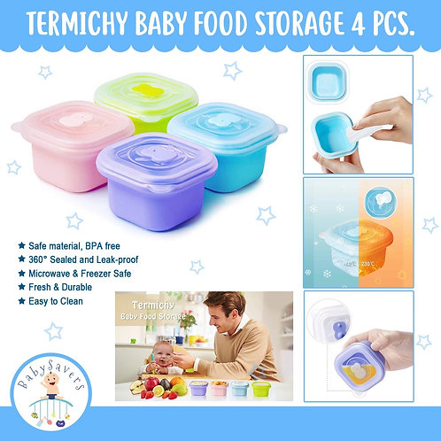 Termichy Baby Food Storage, 4 Pcs Silicone Baby Food Containers with Lids