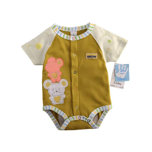 Baby Cotton Shortsleeve Romper Bodysuits with button 6-9m