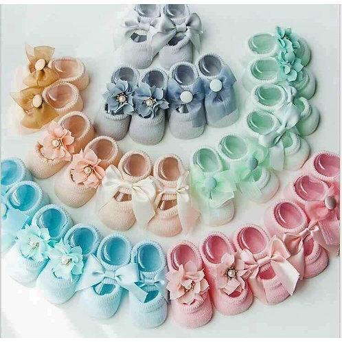 Infant Sheer Ribbon & Bow Turn 3pairs random color