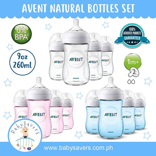 Philips Avent Natural 9oz Feeding Bottle 1m+ 4-Pack