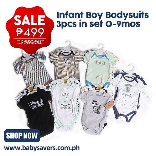 Infant Boy Bodysuits 3pcs in set 0-9mos