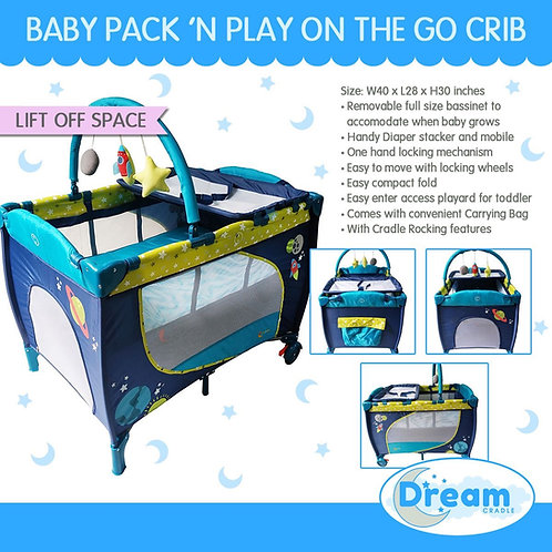 Dream Cradle Pack n play Rocking Crib, Lift off Space
