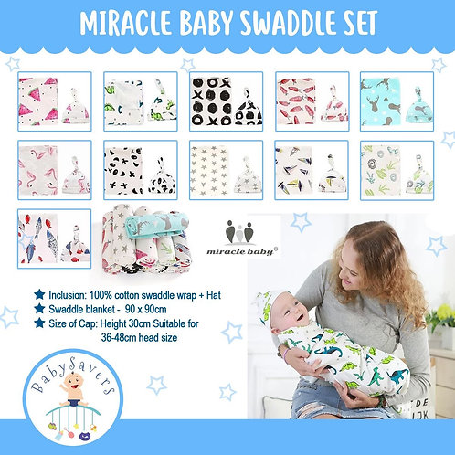 Miracle Baby Swaddle Set 100% cotton wrap + Hat