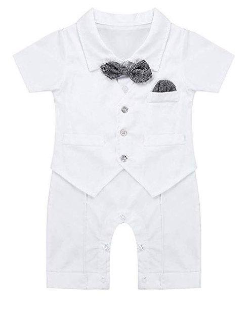 Baby Boys Gentleman Short Sleeves Bowtie Waistcoat Romper