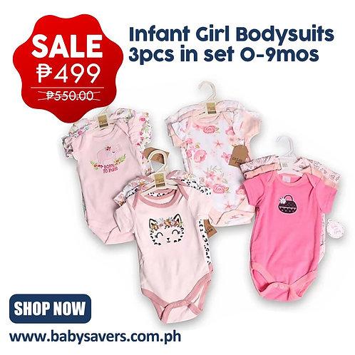 Infant Bodysuits 3pcs in set 0-9mos