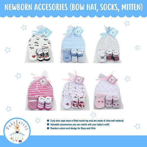 Newborn Infant 3in1 Hat set 0-6mos