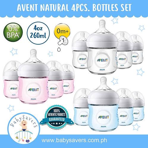 Philips Avent Natural 4oz Bottles - 4pcs Bundle
