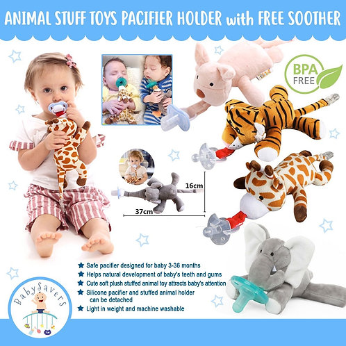 Animal Stuff Toys pacifier holder with free soother