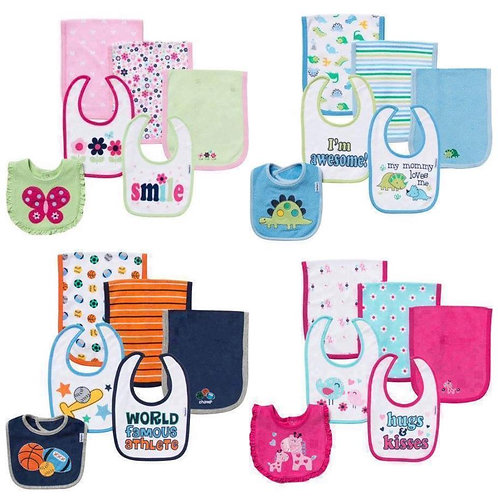 Gerber Terry Bibs & Burps 6pc set, Girl/Boy