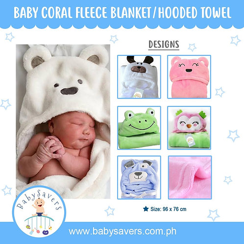 Baby Coral Fleece Animal hooded receiving blanket towel