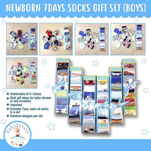Newborn infant 7days socks collection gift set random color - Boy