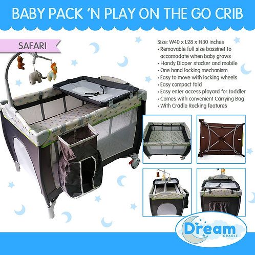 Dream Cradle Pack n play Rocking Crib, Elephant