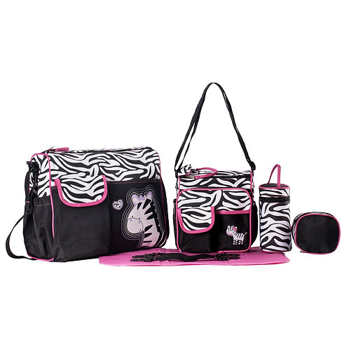 SOHO Collection 5-Piece Zebra Diaper Bag Set