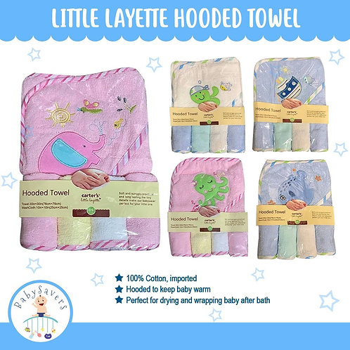 Little layette Hooded Towel with 4 washcloths