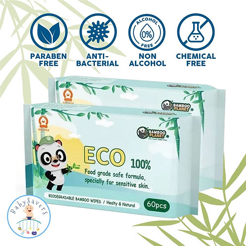 Bamboo Planet Natural Biodegradable baby wipes  60s/pack wipe