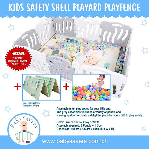 Kids Safety Shell playard playfence in luxury neutral color Gray/White