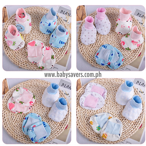 Baby Booties Cotton 3-pair set, random prints for Boy or Girl