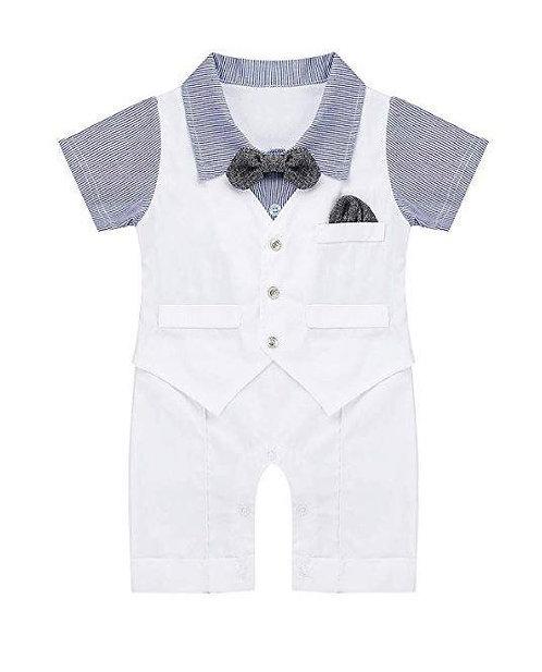 Baby Boys Gentleman Short Sleeves Bowtie Waistcoat Romper Jumpsuit