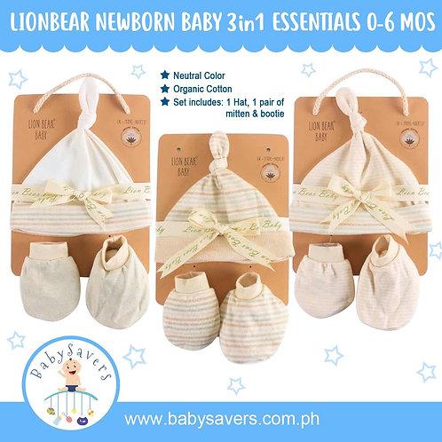 LionBear Baby newborn essentials Hat, Mitten, Bootie 1pack