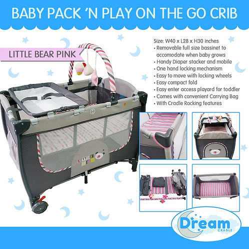 Dream Cradle Pack n play Rocking Crib, Pink