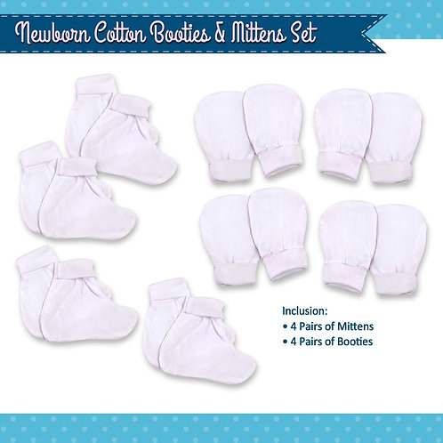 Infant white mitten & booties