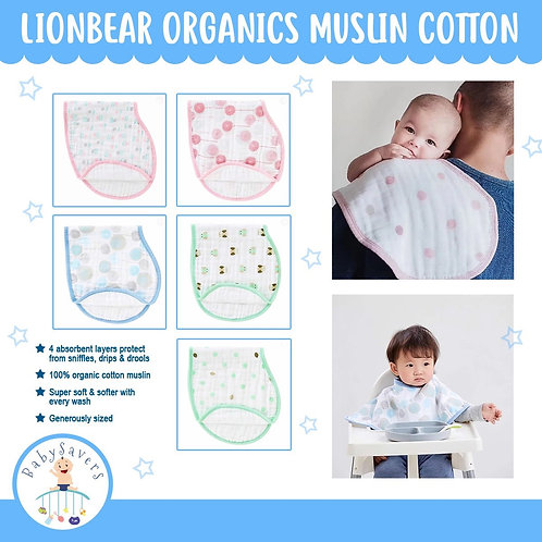 LionBear Organics Muslin cotton 2pcs multipurpose Burp
